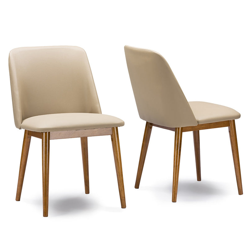 LA Mid-Century Faux Leather Dining Chair Set of 2 - living-essentials