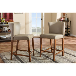 Orlando Mid-Century Grey Vinyl Counter Stool Set Of 2 Stools Free Shipping