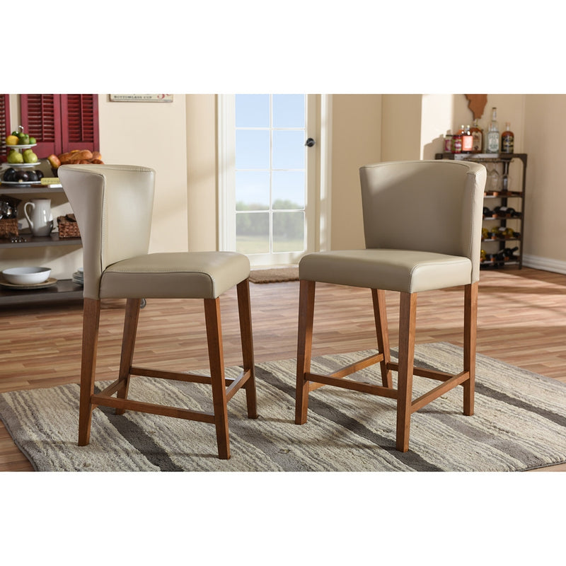 Orlando Mid-Century Grey Vinyl Counter Stool Set of 2 - living-essentials
