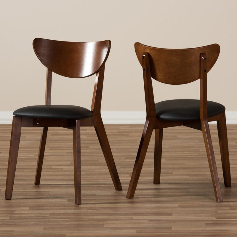 Sunny Mid-Century Walnut Brown Dining Chair Set Of 2 - living-essentials
