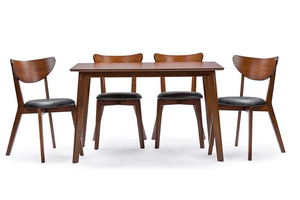 Alexandre Walnut Brown Mid-Century Style 5-Piece Dining Set - living-essentials