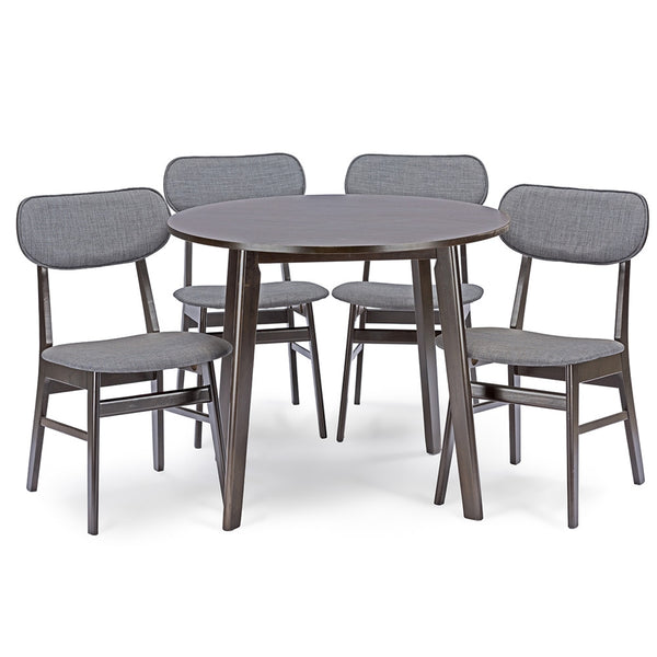 Debbie Mid-Century Dark Brown Wood 5Pc Dining Set - living-essentials