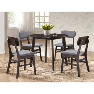 Debbie Mid-Century Dark Brown Wood 5Pc Dining Set Bar And Free Shipping