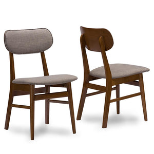 Frankie Grey Fabric Mid-Century Dining Chair Set Of 2 Chairs Free Shipping