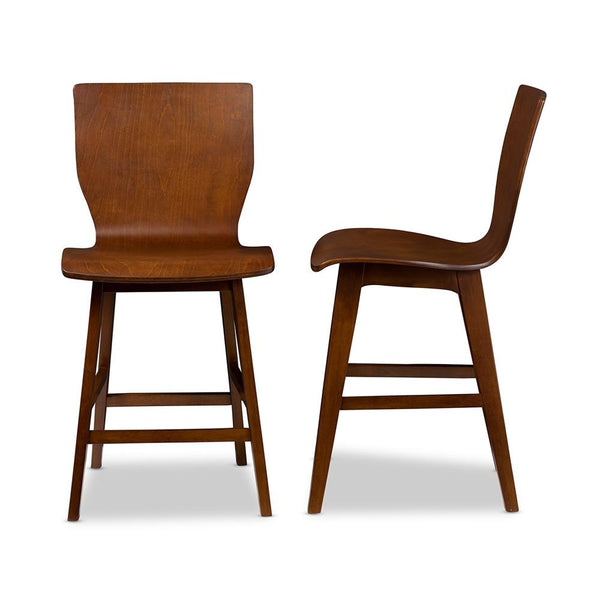 Eva Mid-Century Dark Walnut Bentwood Counter Stool Set of 2 - living-essentials