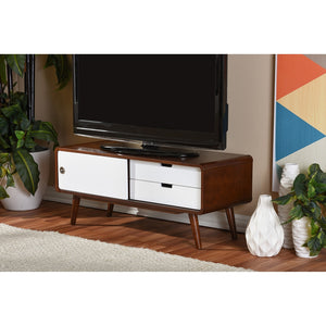 Alston Mid-Century Two-Tone Finish Wood Tv Stand Stands Free Shipping