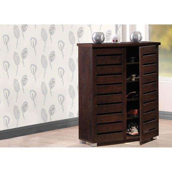 Aldwin 2-Door Dark Brown Wooden Entryway Shoes Storage Cabinet