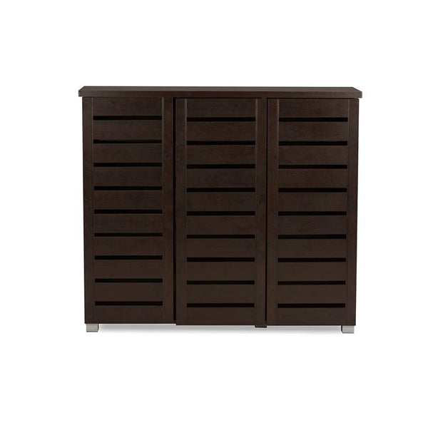 Aldwin 3-Door Dark Brown Wooden Entryway Shoes Storage Cabinet
