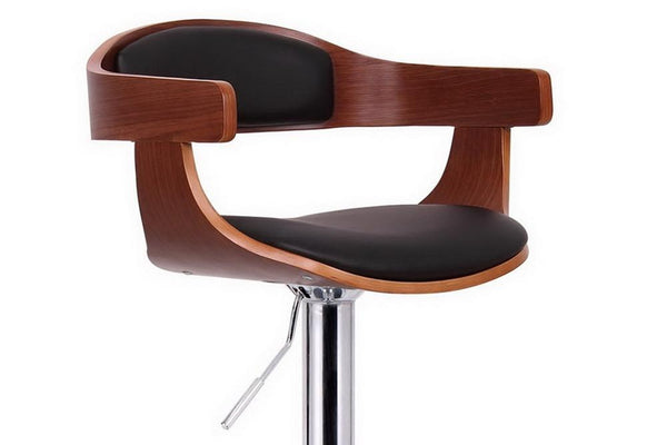 Kristen Walnut And Black Modern Bar Chair - living-essentials