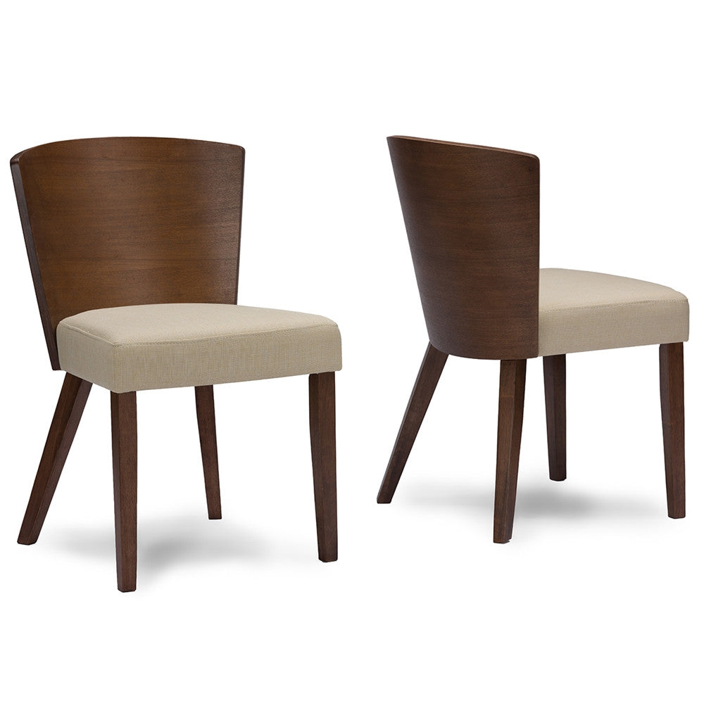 Davey Brown Wood And Khaki Fabric Modern Dining Chair