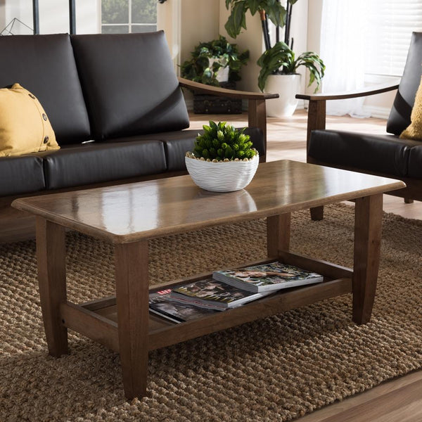 Preston Mid-Century Modern Walnut Wood Coffee Table - living-essentials