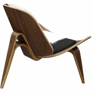 Hans J. Wegner Style Aniline Shell Chair Leather - Walnut / Black Chairs Free Shipping
