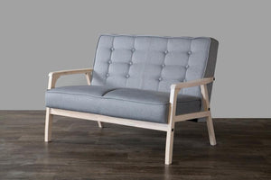 Alex Mid-Century Gray Loveseat Loveseats Free Shipping