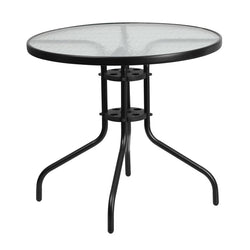 Fiona Black Aluminum 31.5'' Round Indoor/Outdoor Table - living-essentials