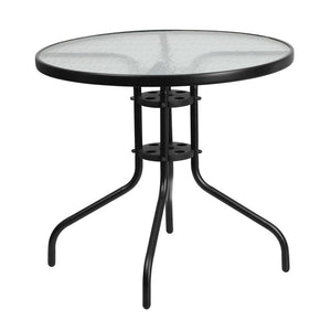 Fiona Black Aluminum 31.5 Round Indoor/outdoor Table Outdoor Free Shipping