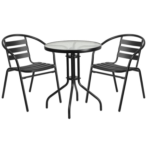 Rose 3 Piece Black Aluminum Indoor/Outdoor Set - living-essentials