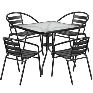 Noelle Black Aluminum Square Table 5 Piece Indoor/outdoor Set Outdoor Free Shipping