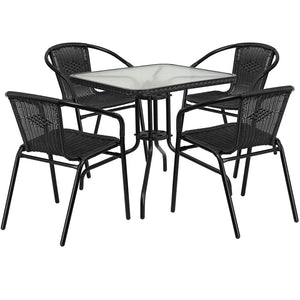 Azalea Rattan 5 Piece Black/Gray/Dark Brown Indoor/Outdoor Set - living-essentials