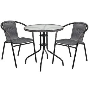 Azalea Rattan 3 Piece Gray/Dark Brown Indoor/Outdoor Set - living-essentials