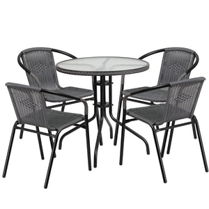Azalea Rattan 5 Piece Gray/dark Brown Indoor/outdoor Set Gray Outdoor Free Shipping