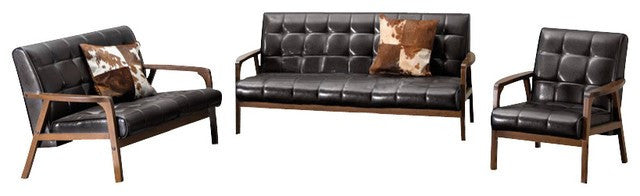Dolly Mid Century Brown 3 Piece Sofa Set - living-essentials