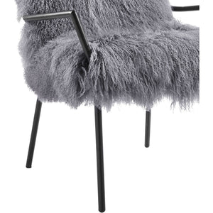 Selena Sheepskin Accent Chairs Set Of 2 Grey With Black Frame Free Shipping