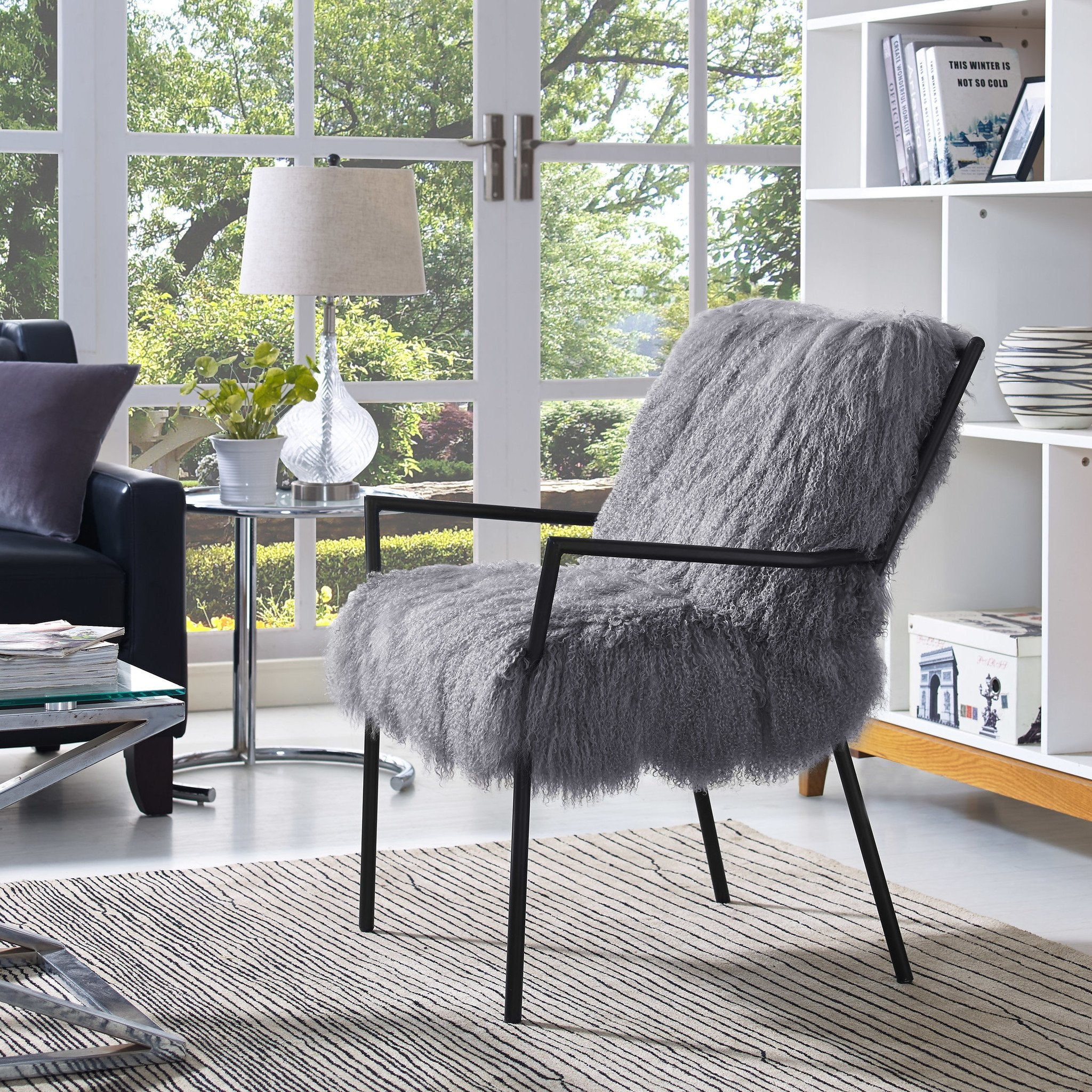 Selena Sheepskin Accent Chairs Set Of 2 Grey With Black Frame Free Shipping  ...