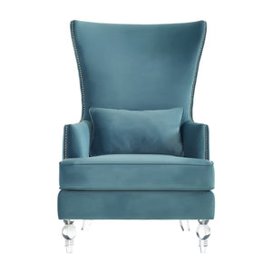 Sarah Sea Blue Velvet Armchair With Lucite Legs Accent Chairs Free Shipping