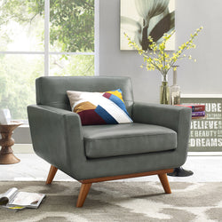 Queen Mary Smoke Grey Leather Armchair - living-essentials