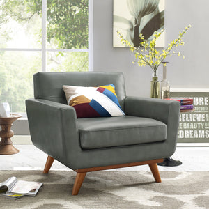 Queen Mary Smoke Grey Leather Armchair Chairs Free Shipping