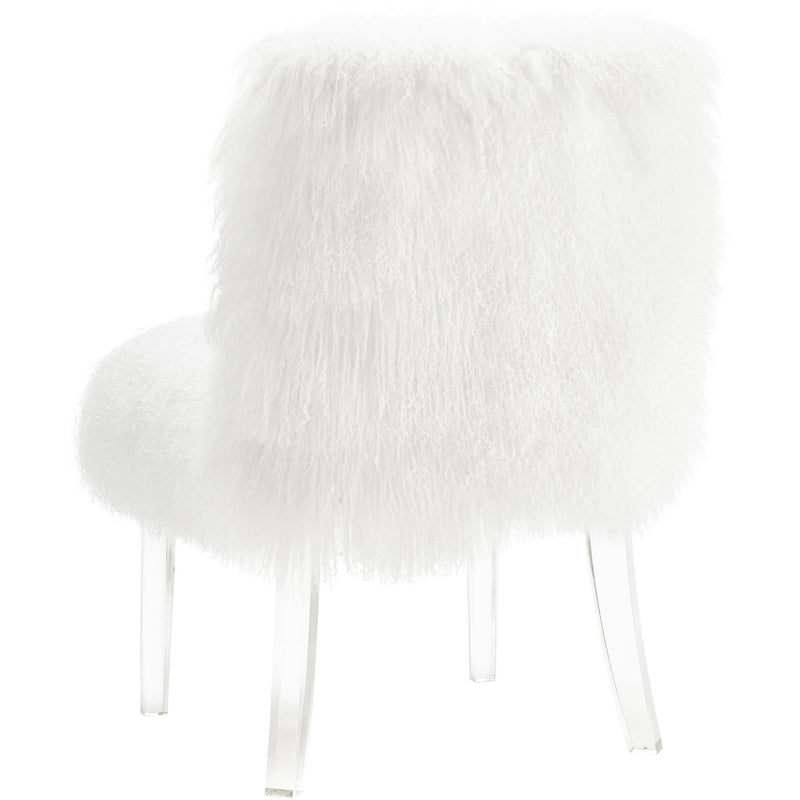Sophie White Sheepskin Lucite Chair - living-essentials