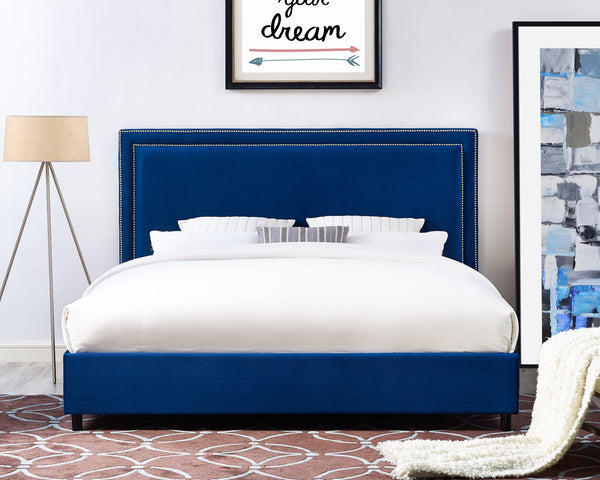 Irina Velvet Navy King Bed Frame - living-essentials