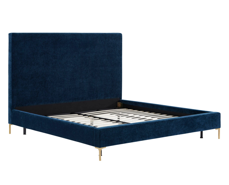 Delora Queen Navy Textured Velvet Bed Frame - living-essentials
