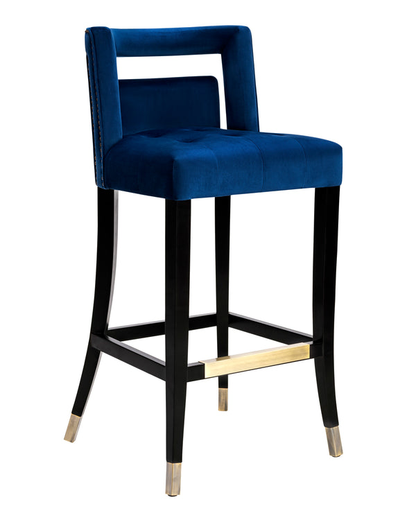 Hale Navy Velvet Bar Stool - living-essentials