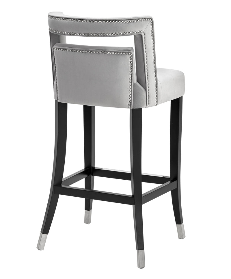 Hale Grey Velvet Bar Stool - living-essentials