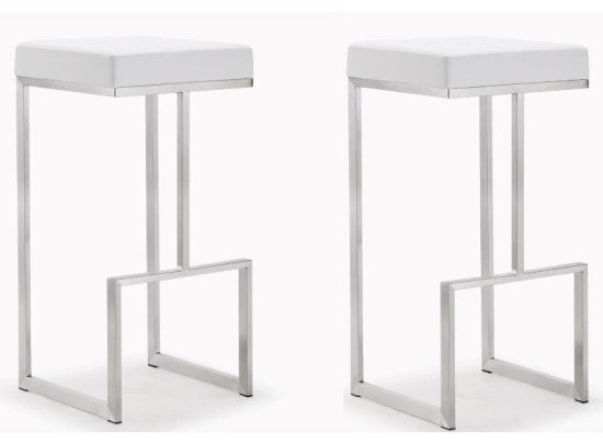 Ferras White Steel Barstool (Set of 2) - living-essentials