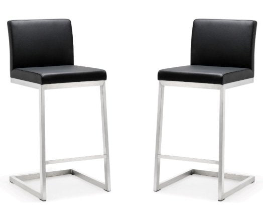 Parri Black Steel Counter Stool (Set of 2) - living-essentials