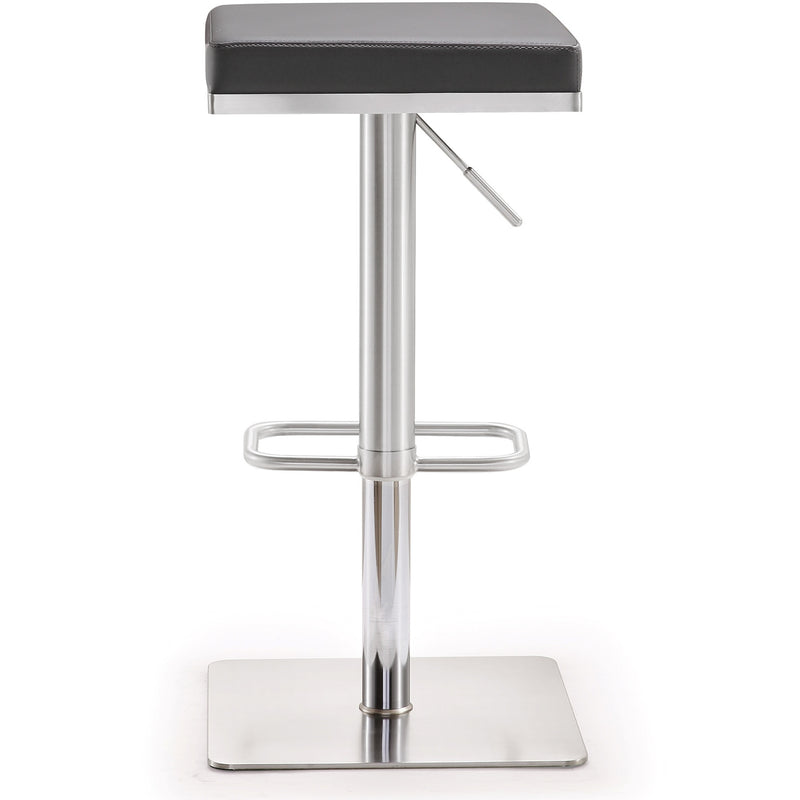 Bari Grey Stainless Steel Adjustable Barstool - living-essentials