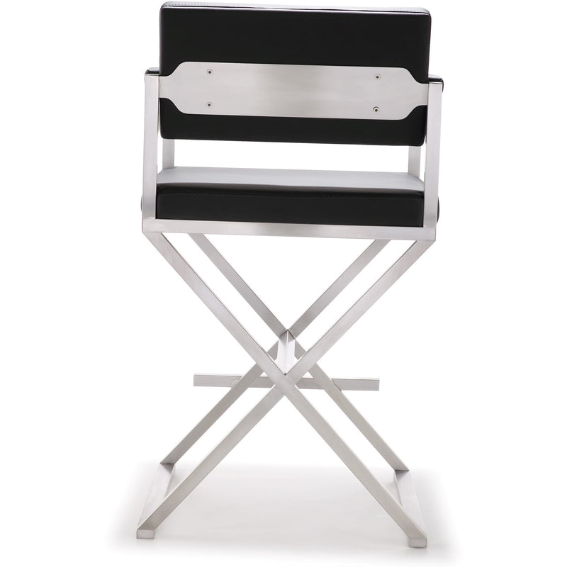 Director Black Stainless Steel Counter Stool - living-essentials