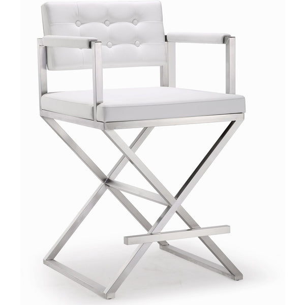 Director White Stainless Steel Counter Stool - living-essentials