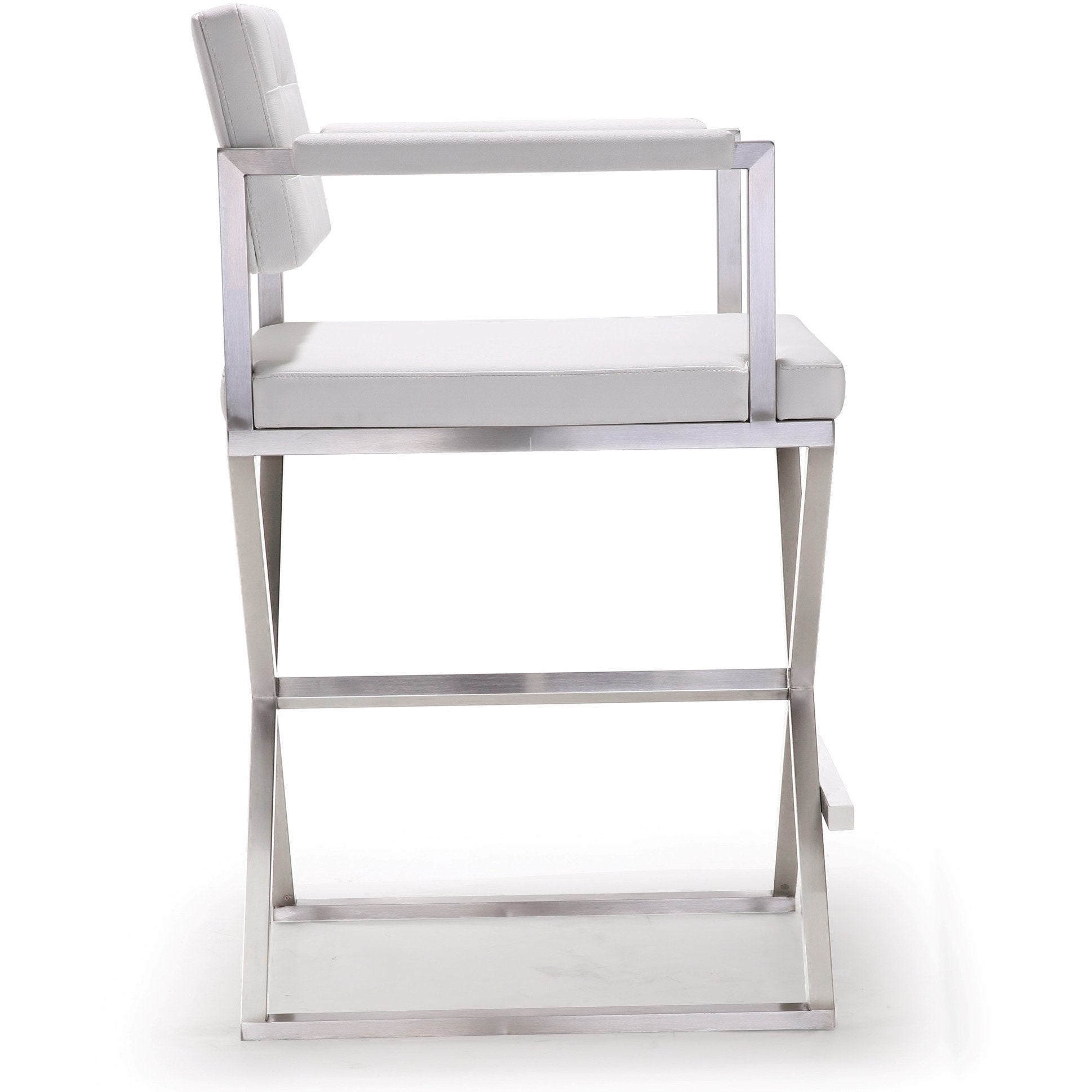 Exceptional Director White Stainless Steel Counter Stool