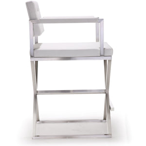 Director White Stainless Steel Counter Stool Bar Stools Free Shipping