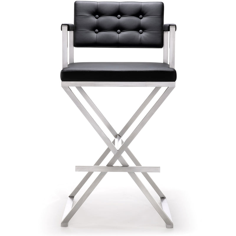 Director Black Stainless Steel Barstool - living-essentials