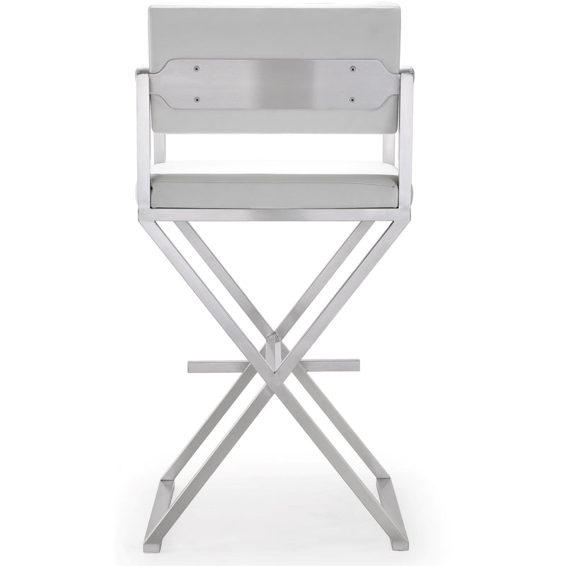 Director White Stainless Steel Barstool - living-essentials