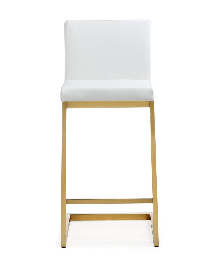 Parri White Gold Steel Counter Stool (Set of 2) - living-essentials