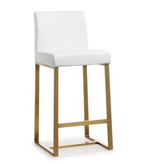 Deangelo White Gold Steel Counter Stool (Set Of 2) Bar Stools Free Shipping
