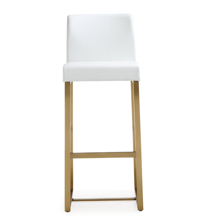 Deangelo White Gold Steel Barstool (Set Of 2) Bar Stools Free Shipping