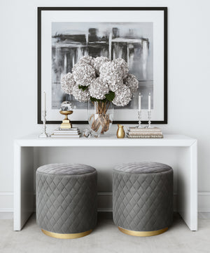 Diamond Velvet Ottoman Grey Free Shipping