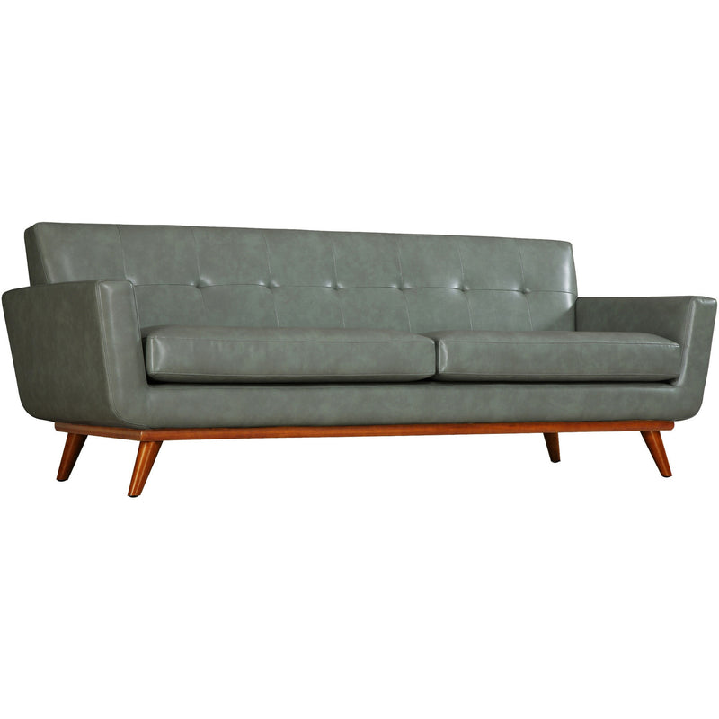 Queen Mary Smoke Grey Leather Loveseat - living-essentials