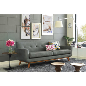 Queen Mary Smoke Grey Leather Loveseat Loveseats Free Shipping
